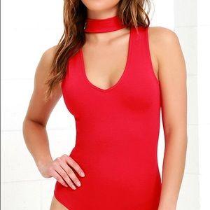 Lulus Powerhouse Red Bodysuit